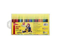 Camlin Sketch Pens with Free Stencil - 24 Shades (Multicolor)