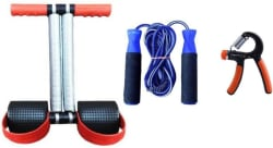 PIRENE FAT BURNING WITH MUSCLE BUILDING TUMMY TRIMMER SKIPPING ROPE AND HAND GRIPPER Home Gym Kit