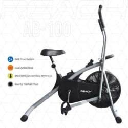 Reach AB-100 Air Bike Exercise Fitness Cycle With Moving Handles Upright Stationary Exercise Bike Silver
