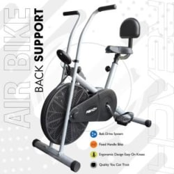 Reach AB-90BS Air Bike Exercise Fitness Cycle With Fixed Handles & Back Support For Home Upright Stationary Exercise Bike Silver