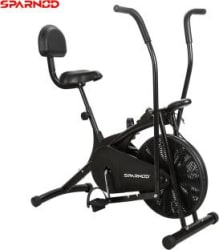 Sparnod Fitness SAB-05 Air Bike Exercise Cycle with back support and moving handles Dual-Action Stationary Exercise Bike Black