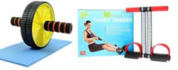 Manogyam Combo Of Tummy Trimmer And Ab Roller Ab Exerciser Multicolor