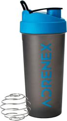 Adrenex by Flipkart BPA Free Gym Bottle with Mixer Ball 700 ml Shaker Pack of 1, Blue, Grey, Plastic