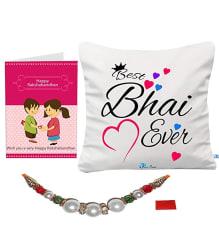Sky Trends Gift for Rakhi | Rakshabandhan | Birthday for Brother | Rakhi Gift for Brother |Best Bhai Ever| Printed Cushion with Filler-086