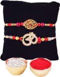 Archies Designer Chawal Roli Pack, Rakhi Set This Pack Contains: 1 Om Rakhi,1 Red Gem Eye Rakhi and Roli Chawal