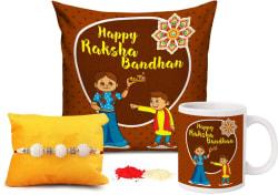 TIED RIBBONS Designer Cushion, Chawal Roli Pack, Rakhi, Mug Set 1 Rakshabandhan Special Cushion Cover(12 inch X 12 inch) with Filler, 1 Pearl Rakhi, 1 Coffee Mug, Roli Chawal