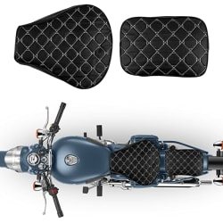 Autofy Checked Texture Seat Cover for Royal Enfield Bullet Classic All Models (Black)