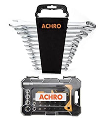 ACHRO Tool Kit Set Chrome Steel Professional Industrial Grade 12 Pieces Combination Spanner Set and Screwdriver Set with Box Spanners (Pack of 30 Pieces Tool Kit Set for Home Use)