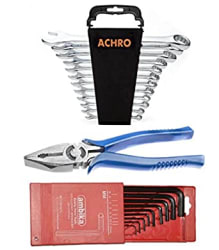 AMBITEC / RUSTON Home/Car/Bike/Tool Kit Set of 22 Pieces with 12 Piece Satin Finish Wrench Set/9 Pieces Allen Key Set in mm/8 Inch Plier