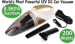 RNG EKO GREEN 8.9KPA/200 Watt Dynamic Power Wet/Dry Car Vacuum Cleaner with Stainless Steel HEPA Filter- 12V (White+Golden)