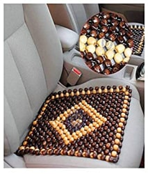 OnWheel car Bead seat Wooden Cushion Cover pad for Acupressure Sitting in Brown Color (1 pc)