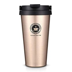 ORPIO (LABEL) Stainless Steel Vacuum Insulated Travel Tea and Coffee Mug -Insulated Cup for Hot & Cold Drinks, Travel Thermos Flask with Lid- Golden (500ML)