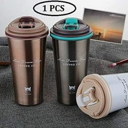 ASPERIA Thermocup Tea Coffee Mug 380ml Double Wall Stainless Steel Travel Cup Car Thermos Mugs with Handle Coffee Tea Travel Thermal Bottle Coffee Tumbler Vacuum Flasks and Thermos