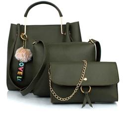 Mammon Women s Handbag With Sling Bag & Clutch (Set of 3) (3LR-bib-Green-Tie_Green)