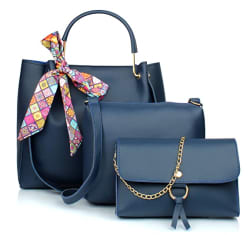 Mammon Women s Blue PU Leather Handbag Combo (3ribn-blue-tie)
