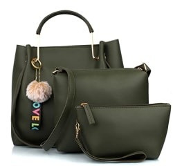 Mammon Women s Handbag (Set of 3) (3LR-BIB-Green_Green)