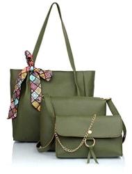 Mammon Women s PU Leather Handbag Combo (3ribn-green)