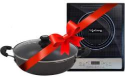 Lifelong LLCMB10 1400 W Induction Cooktop with IB 240 mm Non-Stick Kadhai Black, Grey, Push Button