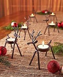 The Purple Tree Cute Christmas Reindeer Tealight Holder - 4 pc (Black) Reindeer Shaped tealight Holder, Christmas Gift, Christmas Lights, Christmas tealight