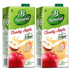 B Natural Apple Juice 1L, (Pack of 2)