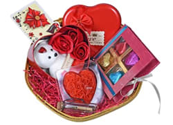 MANTOUSS Valentines Day Gift for Girlfriend/Boyfriend/Husband/Wife/Fiance-Beautiful Basket+Chocolates in a Decorated Box+3pc Roses and Teddy Bear in Heart Box+Message Bottle+Heart Shaped Candle+Card