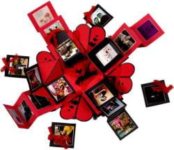 Crafted with passion Explosion box for valentine s day , birthday or anniversary , gift box for any occasion Greeting Card RED and BLACK, Pack of 1
