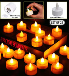 TIED RIBBONS Battery Operated LED Candle Tealight Diya Decorative Lights for Home Wall Lighting Decoration - Pack of 24