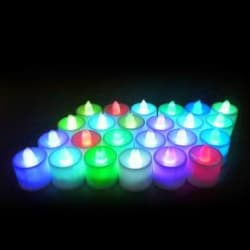 TechGear Set of 24 Pcs Multi Color Soft LED Smokeless Candles Battery Operated Candle Multicolor, Pack of 24
