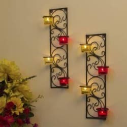Homesake Wall Hanging Twisted Petals Tea Light Candle Diya Holders, Set of 2, Red and Yellow Candle Holder Glass, Iron 8 - Cup Tealight Holder Set(Red, Black, Yellow, Pack of 2)