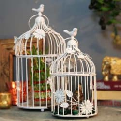 Homesake White Bird Cage with Floral Vine (Set of 2), with Hanging Chain Iron Candle Holder White, Pack of 1