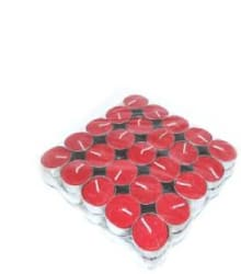 Manogyam red color tea light candle set 50 candles Candle Red, Pack of 50