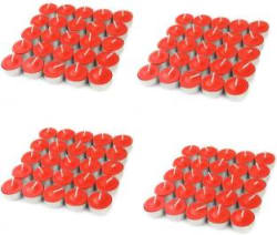 Manogyam Smokeless White Color Tea lights Candle Candle Red, Pack of 100