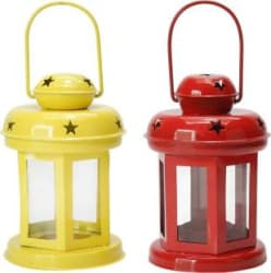 Tied Ribbons Tea Light Candle Holder Lantern for Diwali, Christmas, Home Decoration Iron 2 - Cup Tealight Holder Set Multicolor, Pack of 2