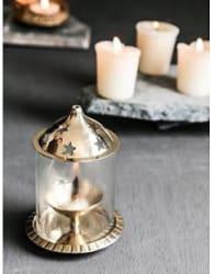 DreamKraft Small Brass Akhand Diya For Puja and Festival Decoration Brass Table Diya Height: 4.05 inch
