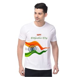 Double F Round Neck Half Sleeve Happy Independence Day and Republic Day and Gandhi JAYANTI Printed T-Shirts for Men