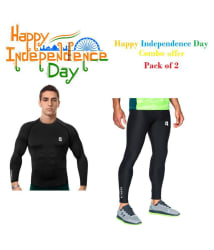 Quada Pack of 2 Independence Day Combo Offer ! 100% Polyester Fitness Men Tight, Compression T-Shirt,Gym,Cycling,Yoga, Jogging