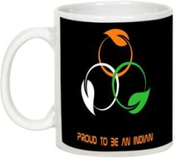 AllUPrints Independence Day Gift - Proud To Be An Indian Ceramic Mug 325 ml