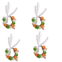 sanjog Green White Orange Compressed Foam Independent Day Pretty Wrist Hand Tiara Puff Wrap for Women and Girls - Pack of 4