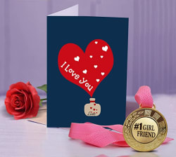 Tied Ribbons Golden Medal With Greeting Card And Artificial Rose (Combo Pack)