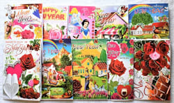 Swarnalekha® 3D Pop up Happy New Year Greeting Cards 10 Pieces, 20x13 cm, Card New Year s Special Gift for Friends & Family, 10 Printed Mix Cards with 10 Envelops (Set of 10)
