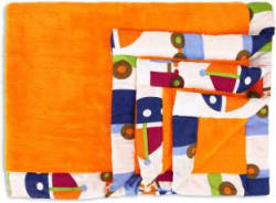 Miss & Chief Printed Single Crib Baby Blanket Microfiber, Orange
