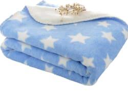 Brandonn Polka Single AC Blanket Woollen Blend, SKY BLUE