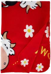 LuvLap Polar Fleece Baby Blanket, 70cm x 100cm, Red Cow