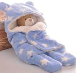 Brandonn Polka Single Hooded Baby Blanket Polyester, SKY BLUE