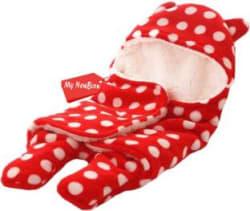 My New Born Printed, Polka Single Crib Baby Blanket Polyester, Red