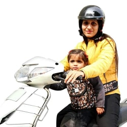 Feather Hug Kidsafe Children Motorcycle Safety Belt for Two Wheeler with Adjustable Straps Or Kid Harness Or Child Gear (Brown)