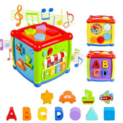 Brand Conquer 6 in 1 Cause and Effect Rules Educational and Learning Activity Including Blocks, Clock, Alphabets-Tree, Transportation Vehicles, Gears, Music Keyboard and Mirror Learning Cube for Kids