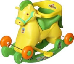Archana Supreme 2 in 1 Green Horse Rocker Cum Ride On! Cart Non Battery Operated Ride On Green