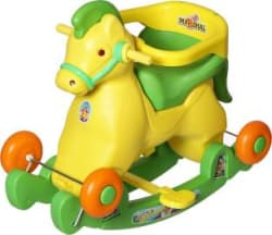 Dash Supreme 2 in 1 Green Horse Rocker Cum Ride On (Green) Rideons & Wagons Non Battery Operated Ride On Green