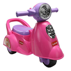 Luvlap - 18519 Wheelie Scooter Ride On for Kids, Battery Operated Music & Light, 12 Months + (Pink)